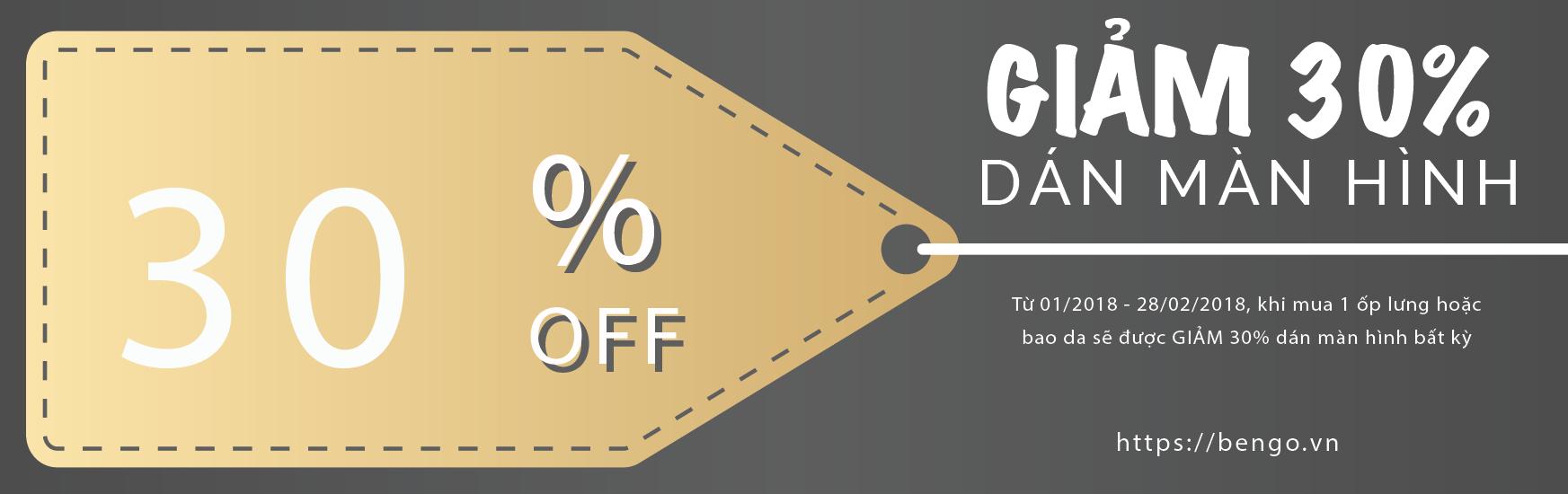 Giảm 30% dán màn hình khi mua kèm ốp lưng hoặc bao da