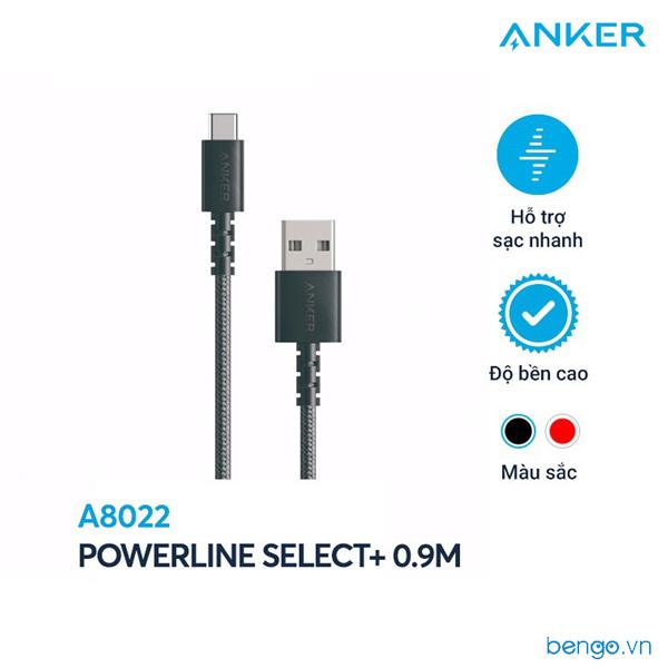 Cáp điện thoại Anker PowerLine Select+ USB-C to USB 2.0 dài 0.9m - A8022