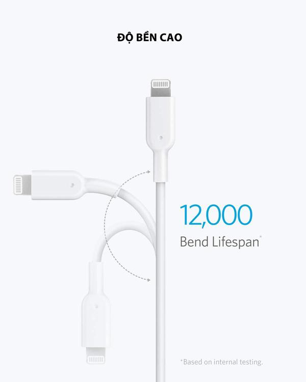 Cáp điện thoại Anker PowerLine II USB-C to Lightning MFi - dài 1.8m - A8633