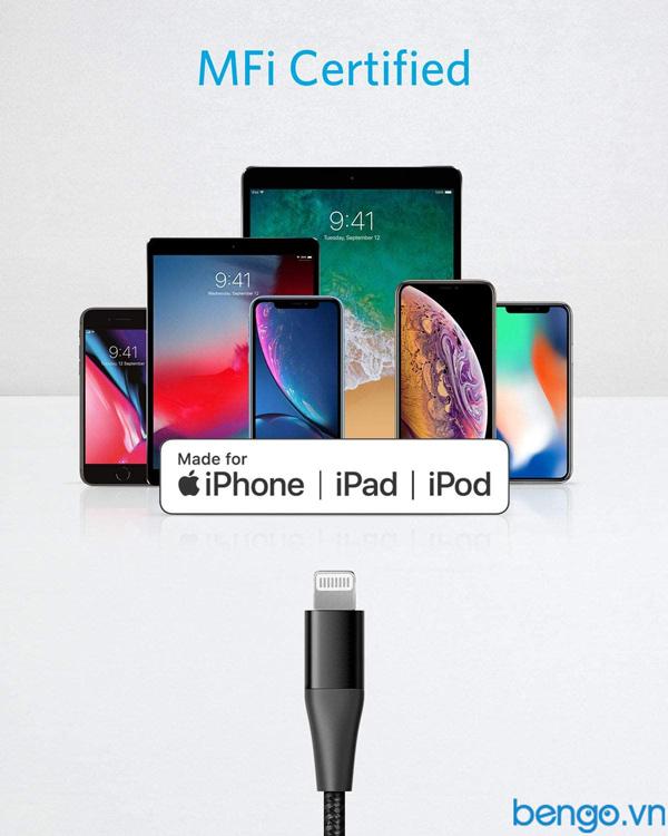 Cáp điện thoại Anker PowerLine+ II USB-C to Lightning MFi dài 0.9m - A8652