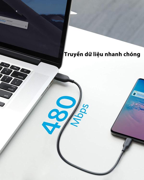 Cáp truyền dữ liệu điện thoại Anker PowerLine III USB-C to USB-C 2.0 - dài 0.9m - A8852
