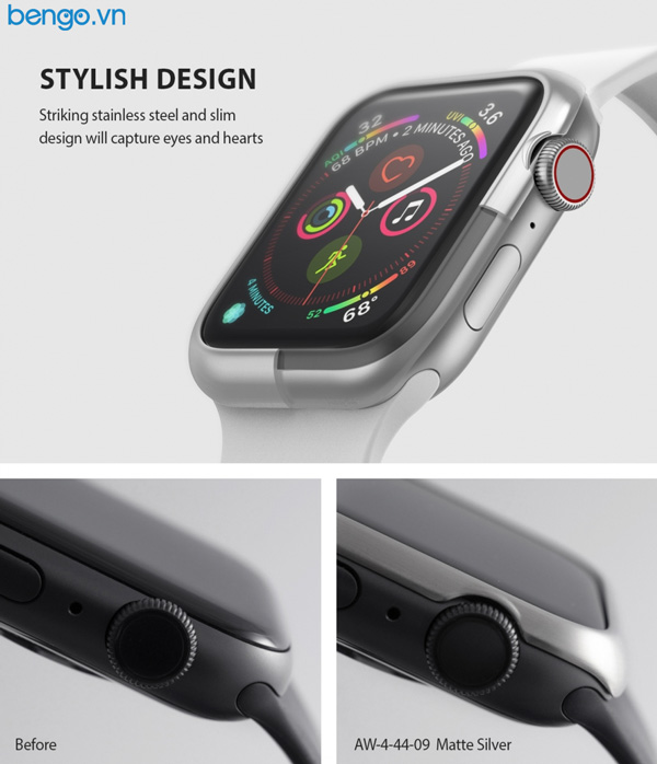 Viền Apple Watch 6/SE/5/4 44mm RINGKE Bezel Styling Stainless
