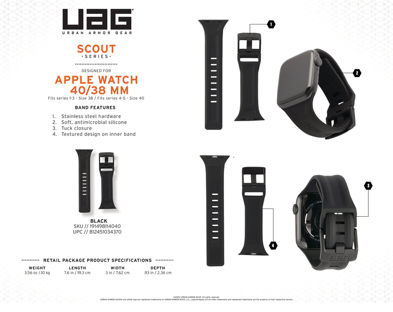 Dây đeo Apple Watch 40mm & 38mm UAG Scout Silicone