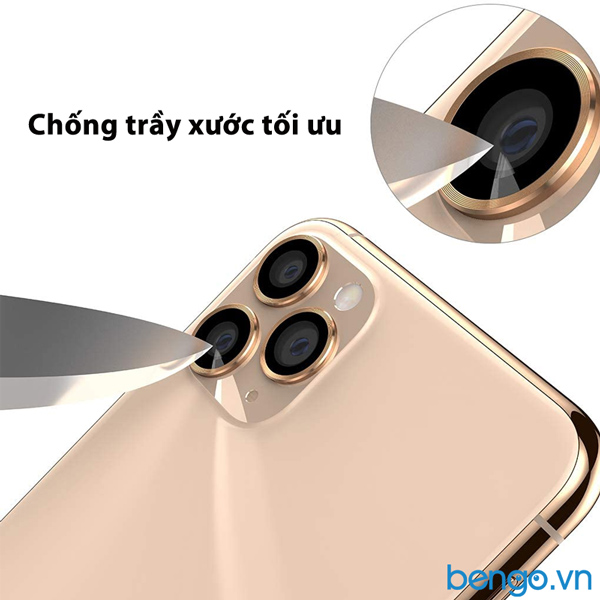 Dán cường lực bảo vệ camera iPhone 11 Pro Max MIPOW Alumium viền màu