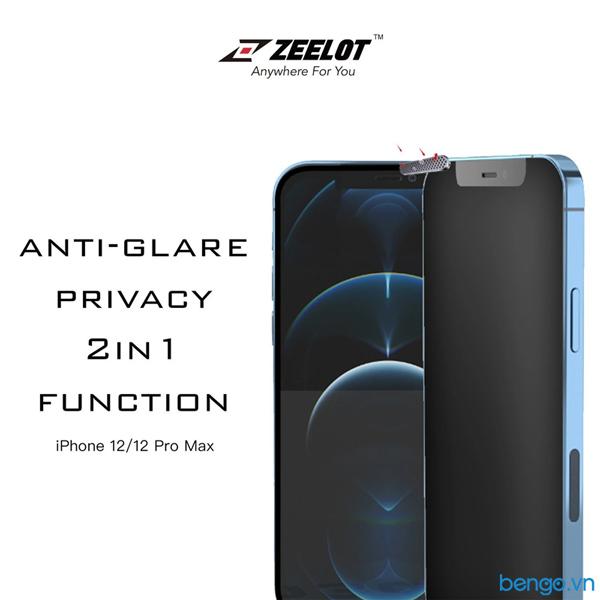 Dán cường lực iPhone 12/12 Pro/12 Pro Max/12 Mini Zeelot PureGlass Titanium Wire Matte Privacy