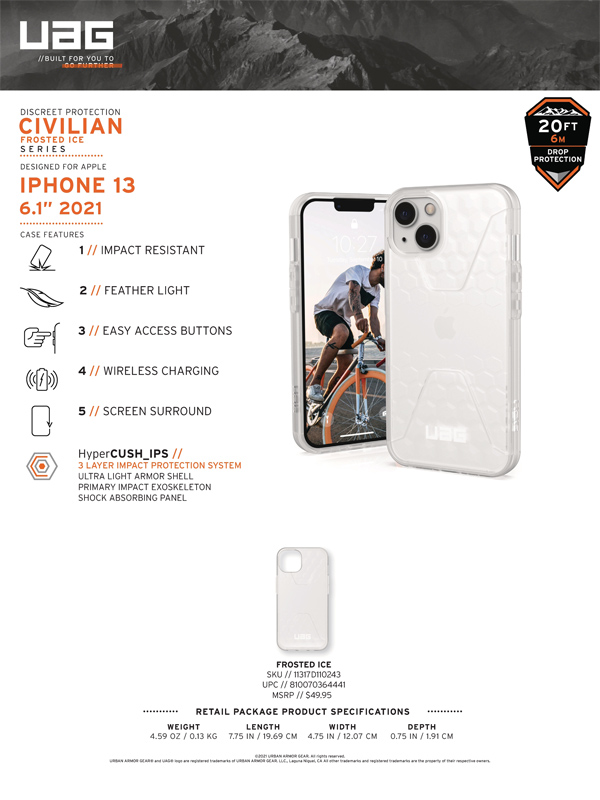 Ốp lưng iPhone 13 UAG Civilian Frosted Ice Series