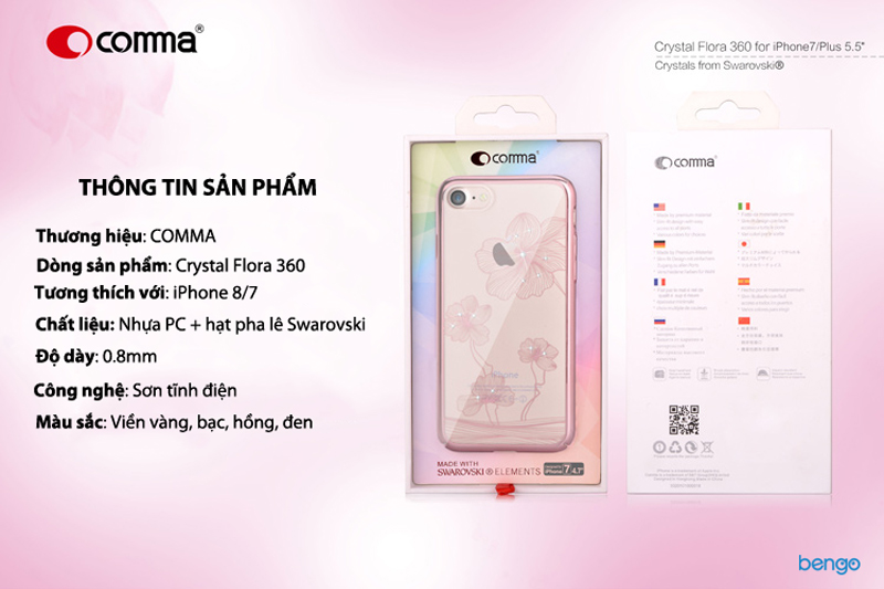 Ốp lưng iPhone 8/7 Comma Crystal Flora 360