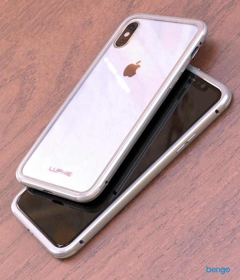 Ốp lưng iPhone X Luphie trong suốt viền kim loại màu