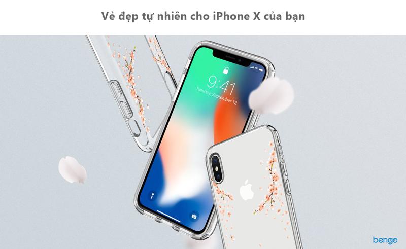Ốp lưng iPhone X SPIGEN Liquid Crystal Blossom