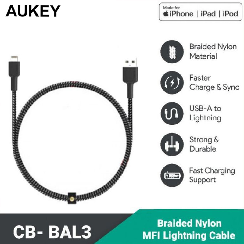 Cáp USB-A to Lightning MFi AUKEY Impulse Lightning Nylon Braided 1.2m - CB-BAL3
