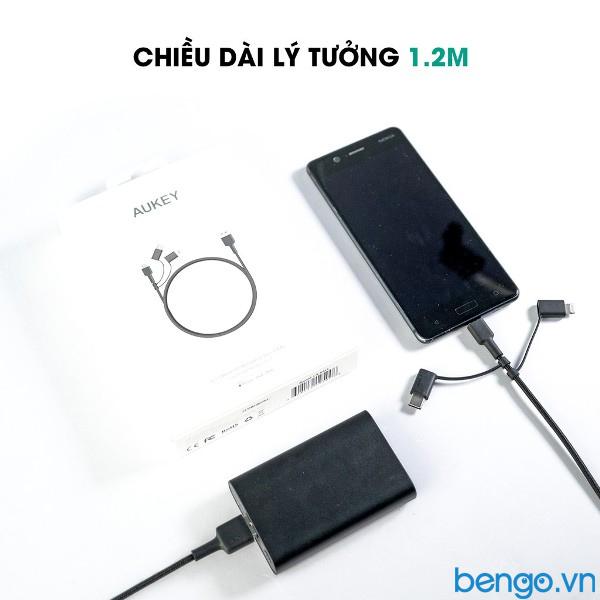 Cáp 3 trong 1 Aukey MFI Lightning với Micro-USB & USB-C 1.2m - CB-BAL5