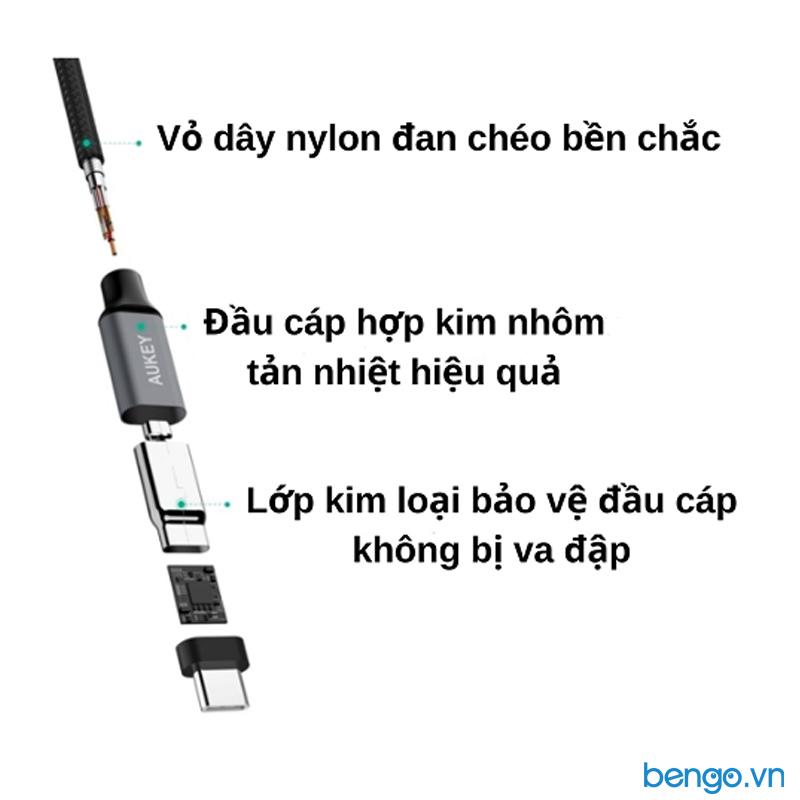 Cáp USB-C to USB-C AUKEY Quick Charge 3.0 Durable Braided Nylon Cable - CB-CD5></p>   <h3>Hai đầu USB-C với độ dài dây 1 mét gọn gàng trên bàn làm việc</h3>   <p><strong>Cáp USB-C to USB-C AUKEY Quick Charge 3.0 Durable Braided Nylon Cable - CB-CD5 </strong><span>được thiết kế nhỏ gọn và đa năng, nên hầu hết các thiết bị điện tử như smartphone hay laptop và cả sạc dự phòng đều được trang bị USB-C. Cáp Aukey CB-CD5 là loại cáp chuyên dùng để kết nối giữa các thiết bị có cổng USB-C. Khả năng đồng bộ nhanh chóng, đáp ứng hiệu quả nhu cầu công việc.</span></p>   <p style=