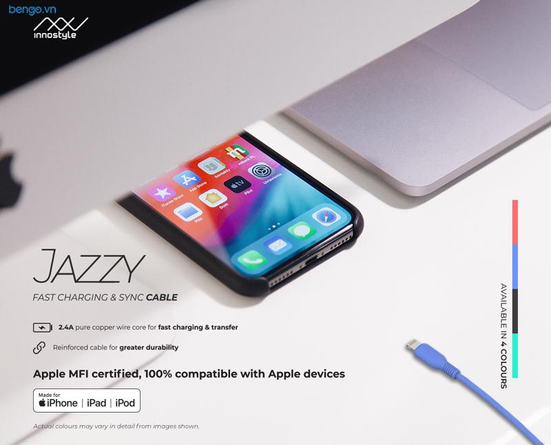 Cáp sạc INNOSTYLE JAZZY 1.5m USB-A to Lightning MFI cho iPhone/iPad/iPod - IAL150-Teal