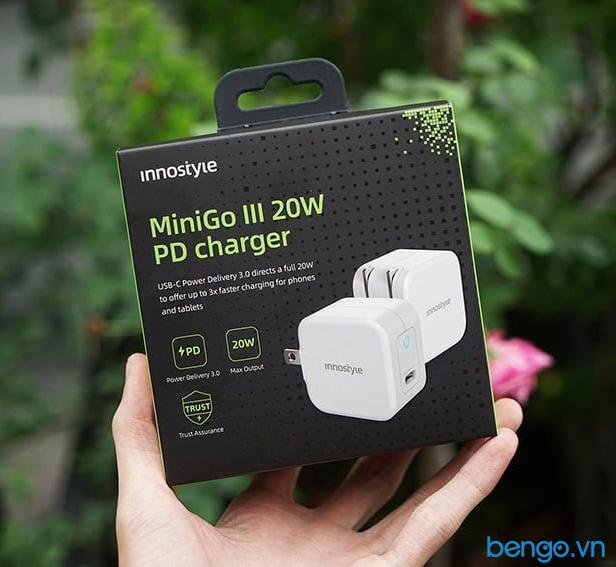 Sạc nhanh Innostyle Minigo Pro III Dual PD/QC 3.0 20W - IC20-2PDWHI