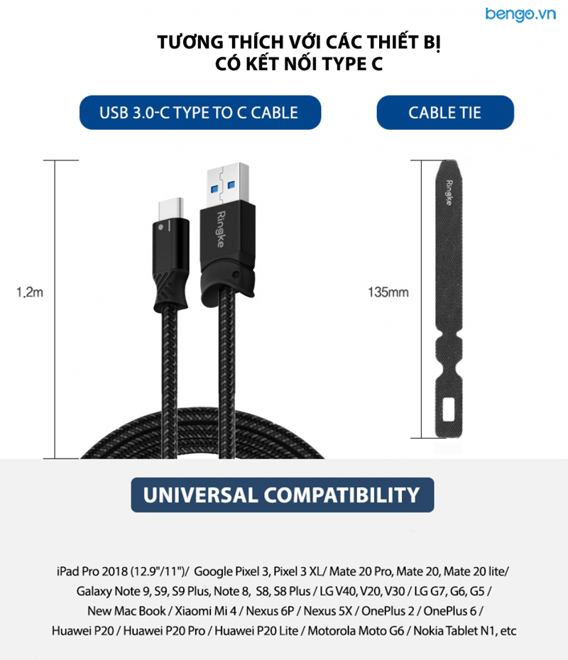 Cáp sạc Type C Ringke Smart Fish Charging Cable