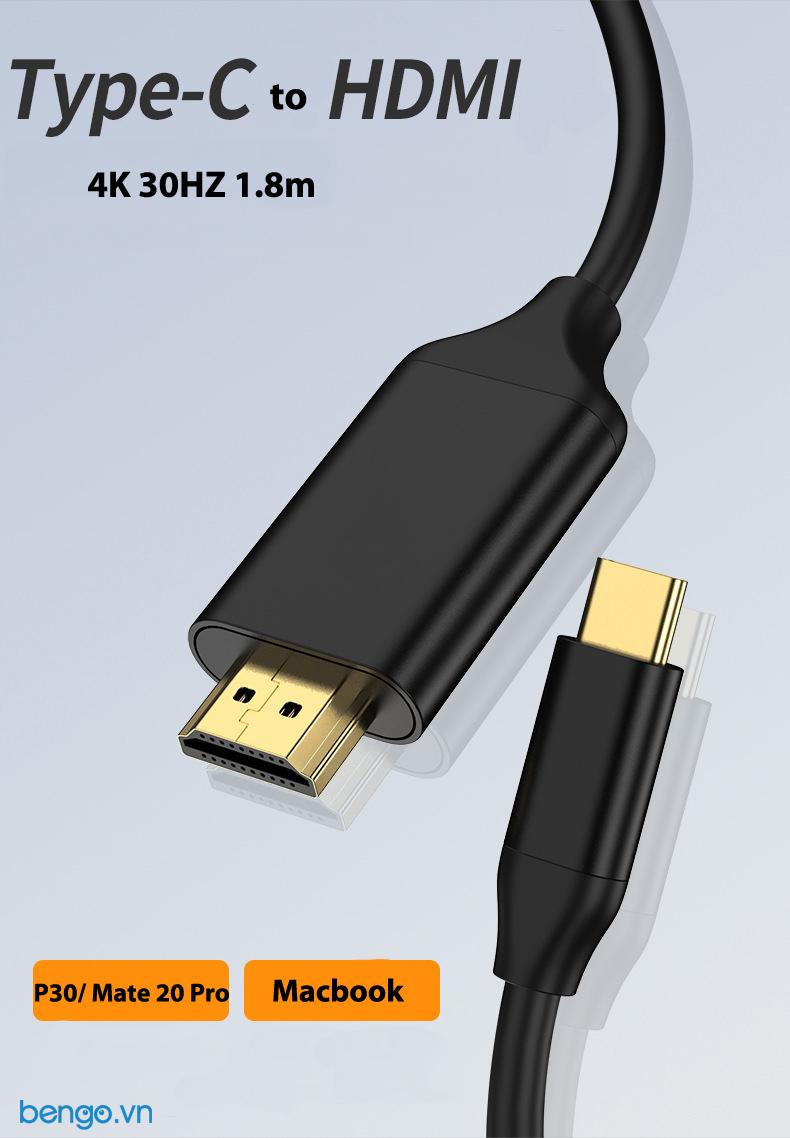 Cáp chuyển USB-C qua HDMI 1.8m hỗ trợ chuẩn 4K 30HZ