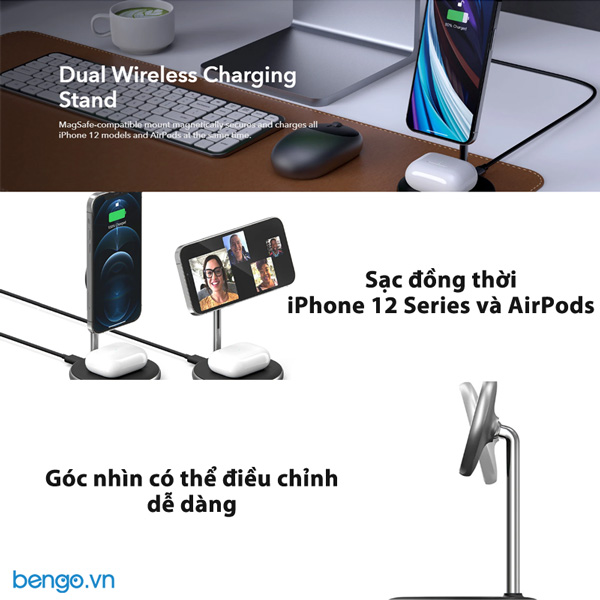 Sạc không dây HyperJuice Magnetic Wireless Charging Stand 2 in 1 cho iPhone 12 và AirPods - HJ461