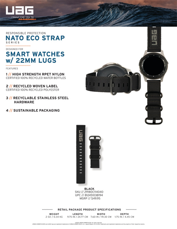 Dây đồng hồ vải dù UAG Nato Eco Universal Watch 22mm