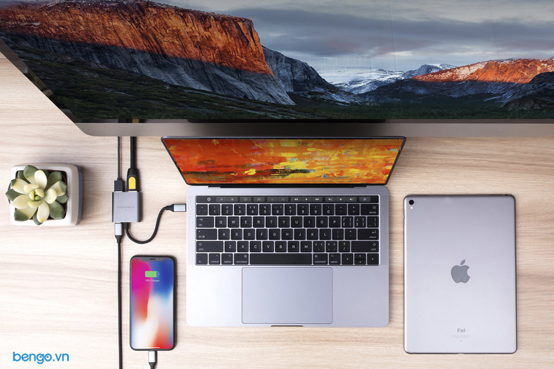 Cổng chuyển HyperDrive 4K HDMI 3-in-1 USB-C Hub for MacBook, PC & Devices