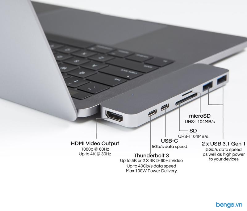HDMI, Thunderbolt 3, USB-C, SD, microSD, 2 x USB 3.1