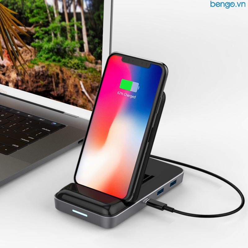 Đế sạc nhanh không dåy kiêm HUB 8 in 1 HyperDrive 7.5W Wireless Charger USB-C