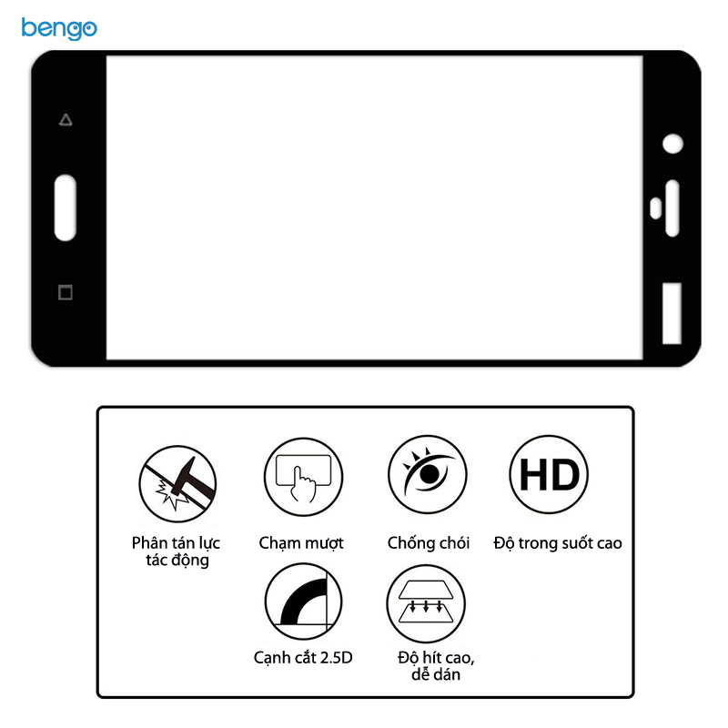 Dán màn hình cường lực Nokia 8 Full màn hình