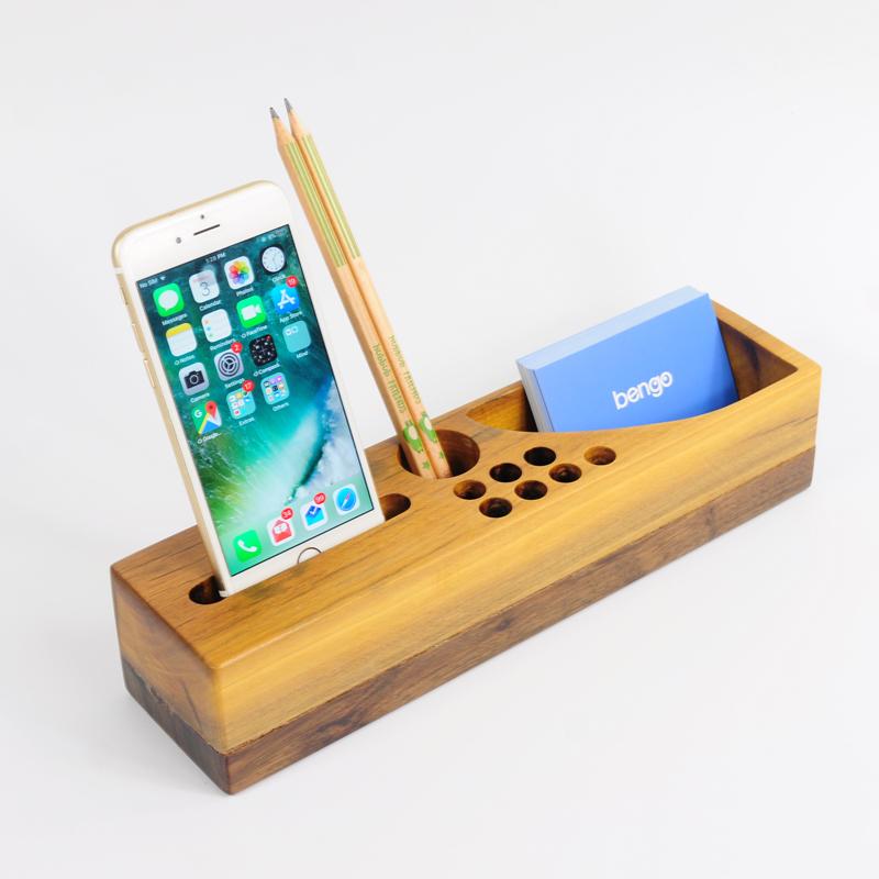 Hộp cắm bút lớn bằng gỗ tự nhiên đa năng, tiện dụng