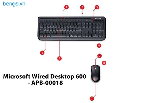 Bộ bàn phím, chuột có dây Microsoft Wired Desktop 600 - APB-00018