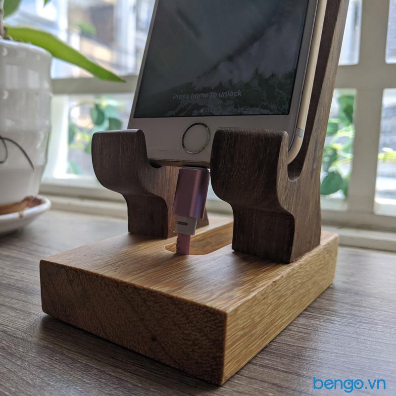 giá đỡ điện thoại, tablet bằng gỗ