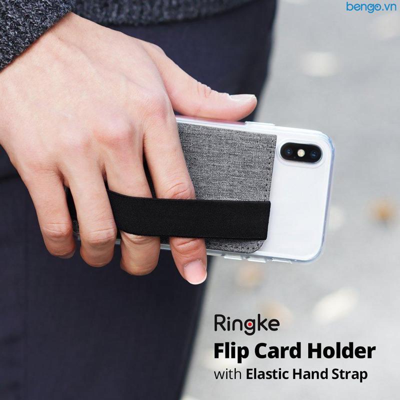 Ví dán lưng Ringke Flip Card Holder (with Elastic Hand Strap)