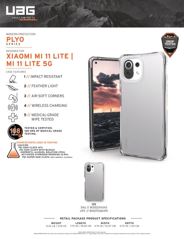 Ốp lưng Xiaomi Mi 11 Lite 5G UAG Plyo - ICE