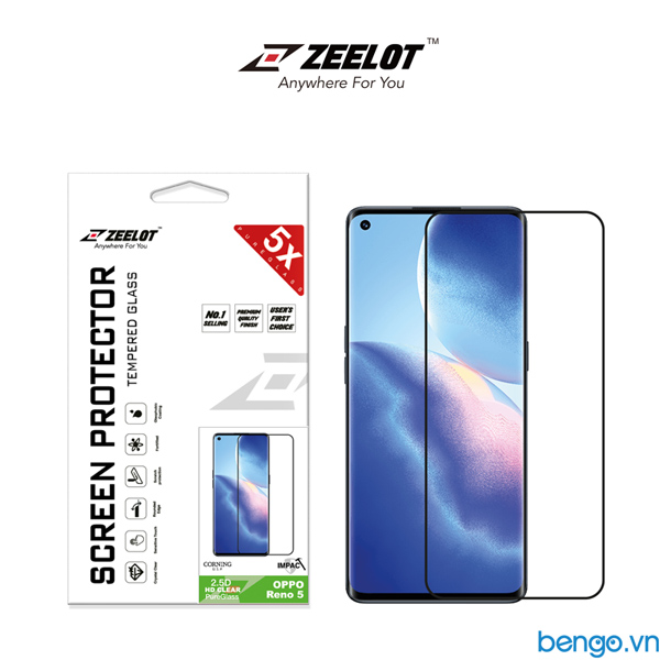 Dán cường lực OPPO Reno 5 ZEELOT PureGlass 2.5D Full keo