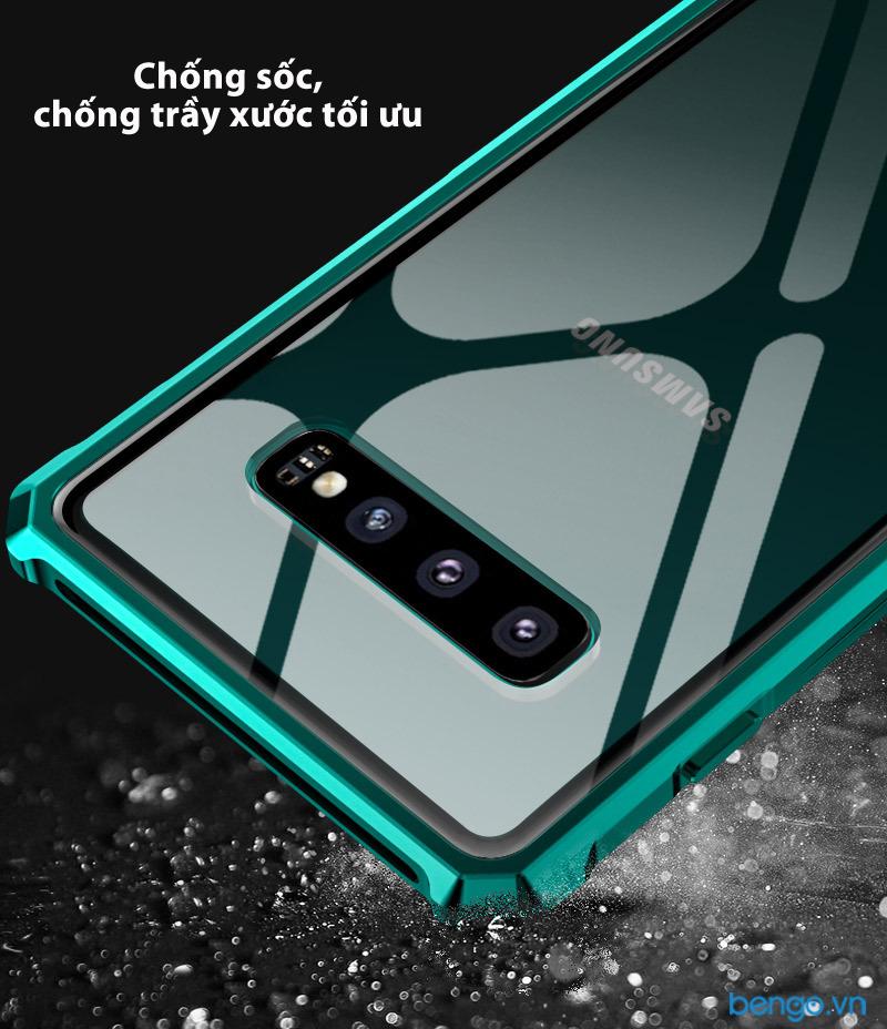 Ốp lưng Samsung Galaxy S10 Plus BOBYT viền kim loại mặt lưng kính