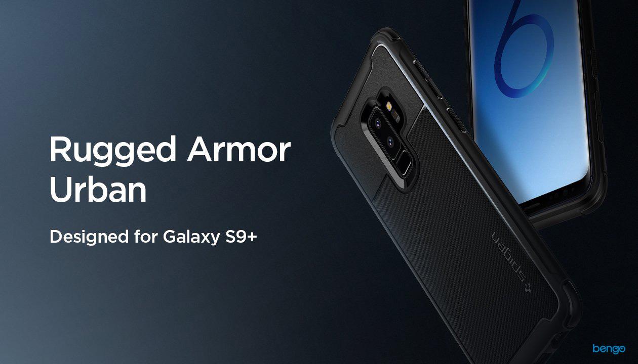 Ốp lưng Samsung Galaxy S9 Plus SPIGEN Rugged Armor Urban - Black