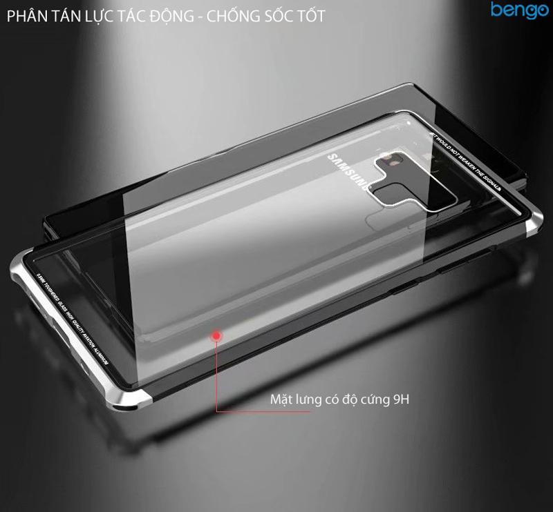 Ốp lưng Samsung Galaxy Note 9 LUPHIE viền kim loại mặt lưng kính