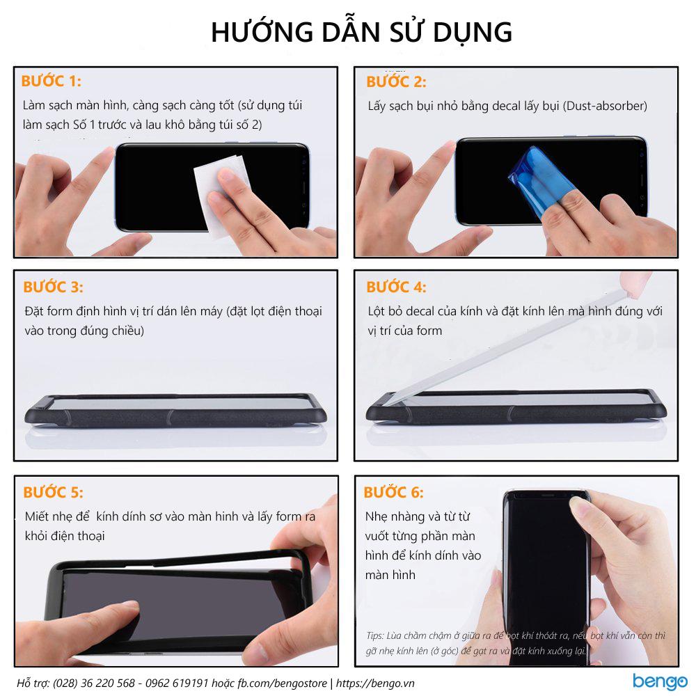 Huong dan dan màn hình cường lực Samsung S8 4D full màn hình, phủ keo và từ tính 100%