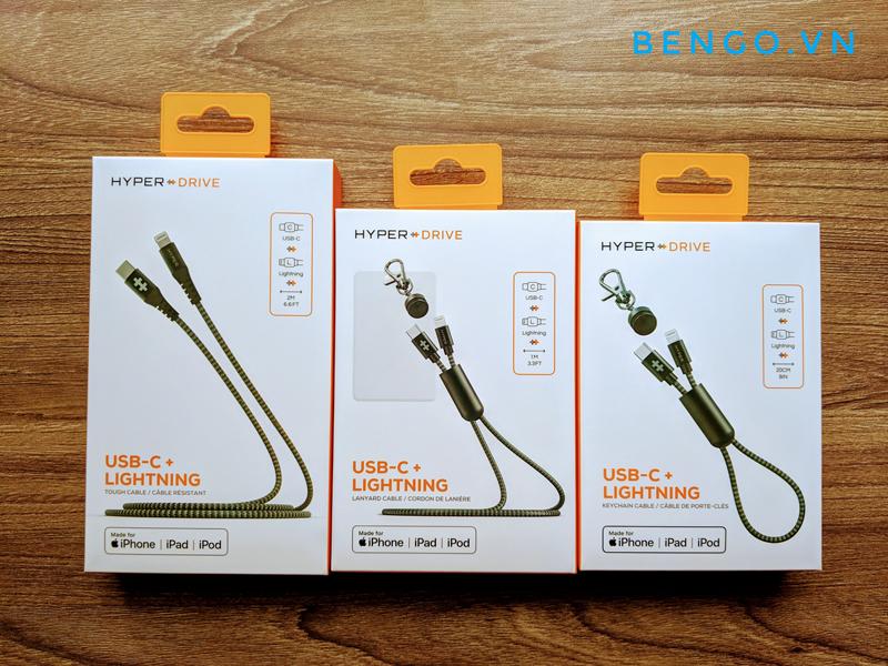 Cáp HyperDrive Lanyard USB C to Lightning 18W MFI dài 1m - HD-CLM303
