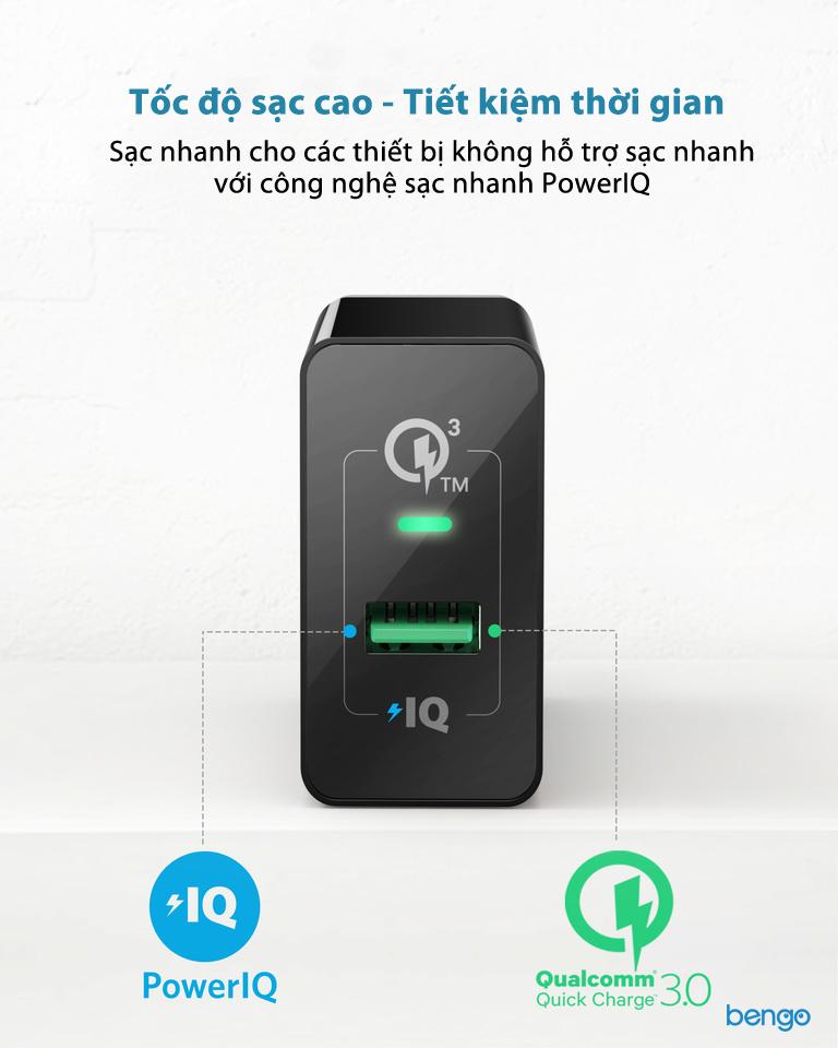 Sạc Anker 1 cổng 18w Quick Charge 3.0 và PowerIQ