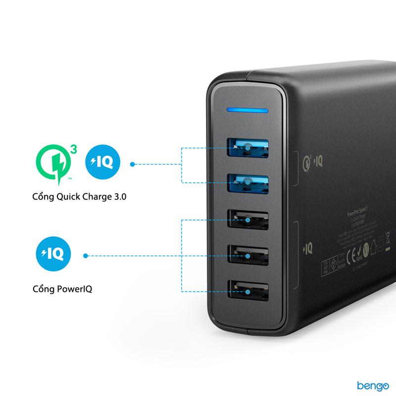 Sạc Anker 5 cổng 63w với 2 cổng Quick Charge 3.0 và PowerIQ