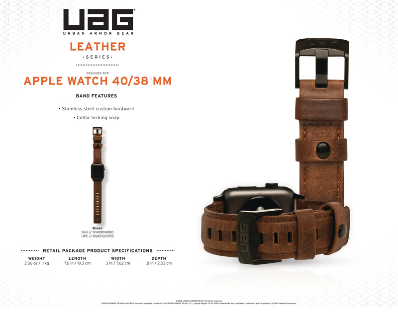 Dây đeo Apple Watch 40mm & 38mm UAG Leather cao cấp