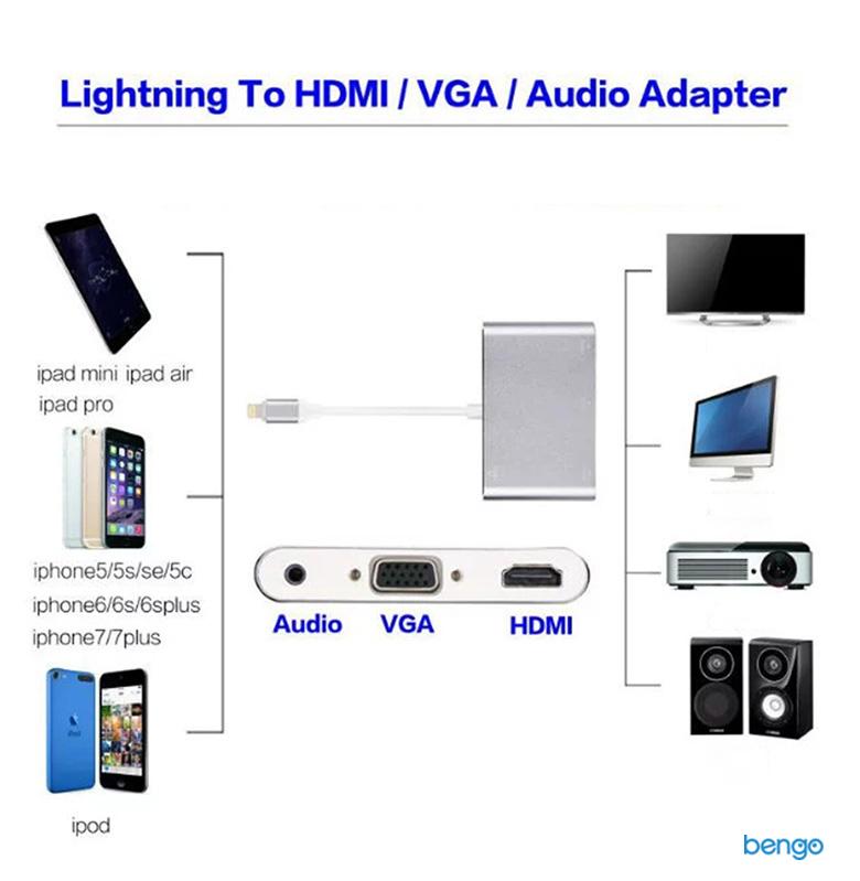 Cáp chuyển Lightning to HDMI/VGA/Audio Adapter