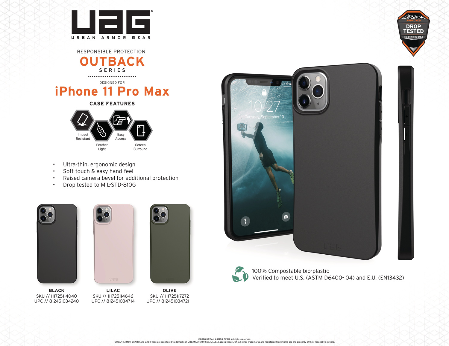 Ốp lưng iPhone 11 Pro Max UAG Biodegradable Outback