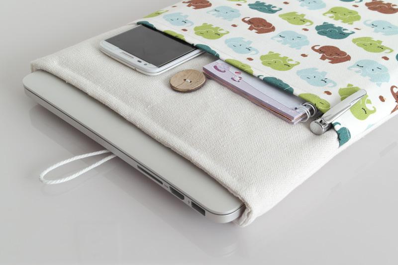 Túi vải Macbook Air 13 inch họa tiết Baby Elephant
