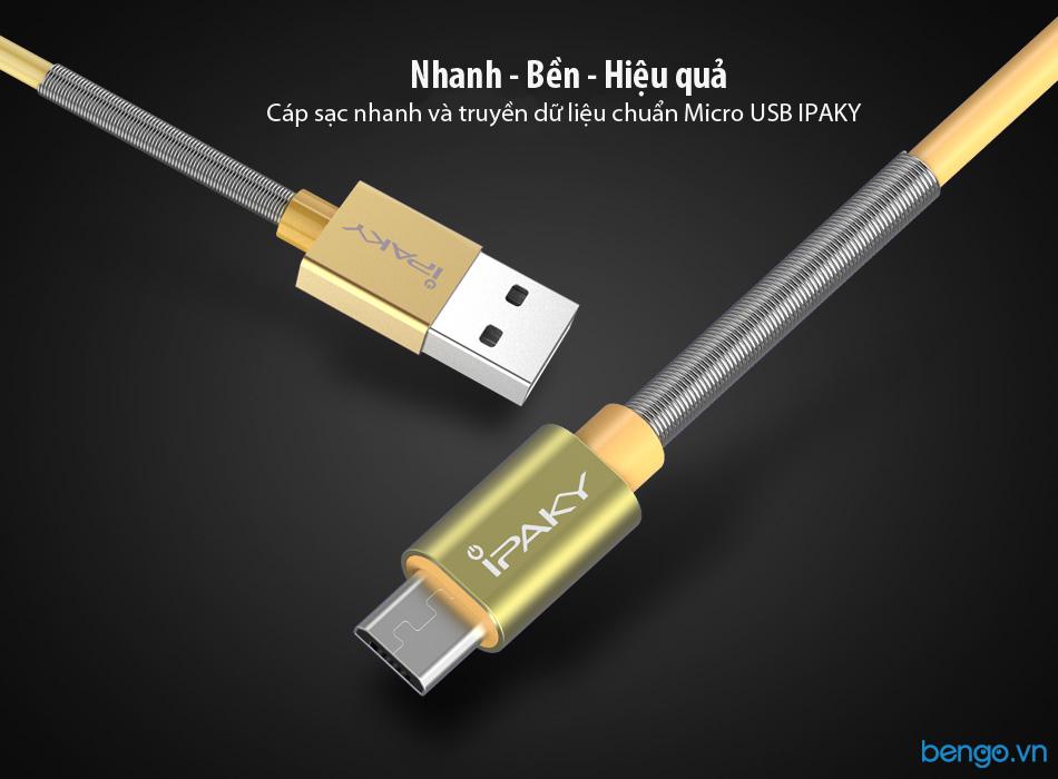 Cáp sạc nhanh và truyền dữ liệu chuẩn Micro USB IPAKY