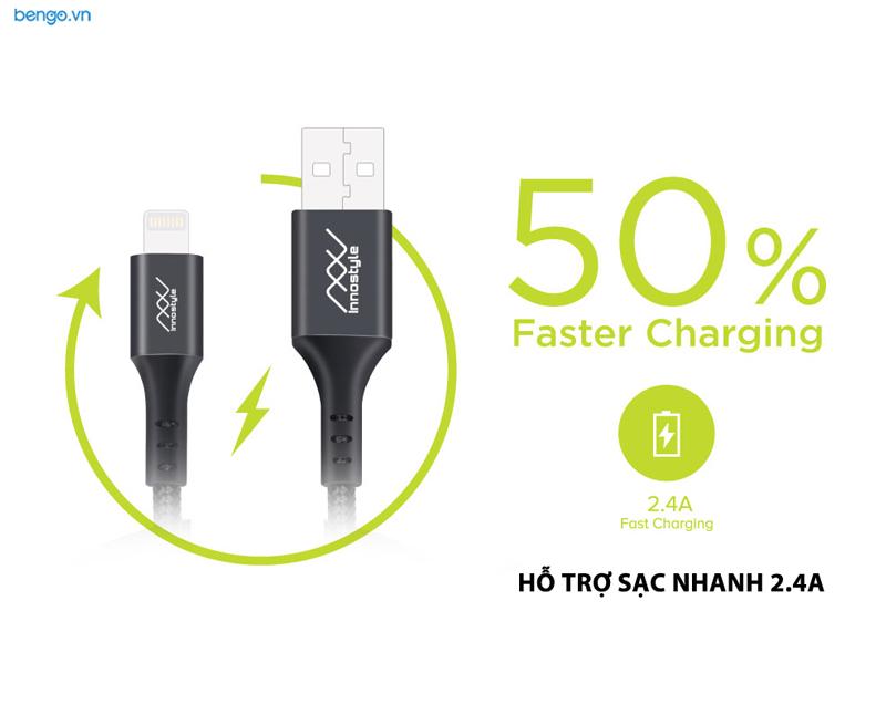 Cáp sạc INNOSTYLE Duraflex USB-A to Lightning 1.5m MFI