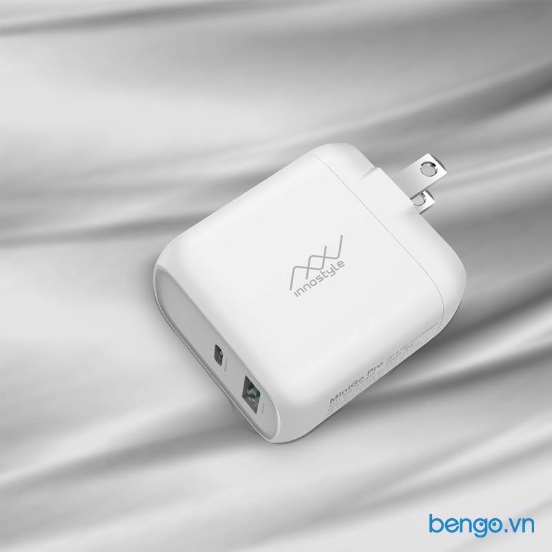 Sạc nhanh INNOSTYLE Minigo Pro 2 cổng (USB PD + USB C PD/QC3.0) 18W - IP18-2PD