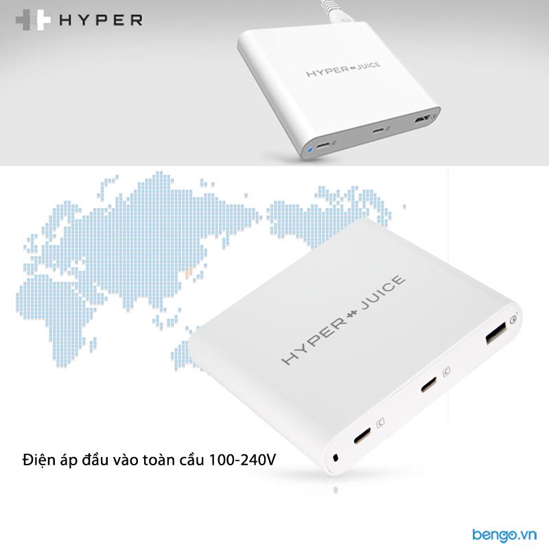 Sạc HYPER Juice 87W Dual USB-C tích hợp USB-A QC 3.0