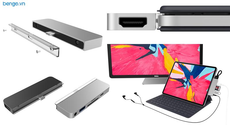 Hub 6 in 1 Hyperdrive USB-C cho iPad Pro 2018/2020 và thiết bị dùng cổng USB-C HDMI 4K/60Hz - HD319B