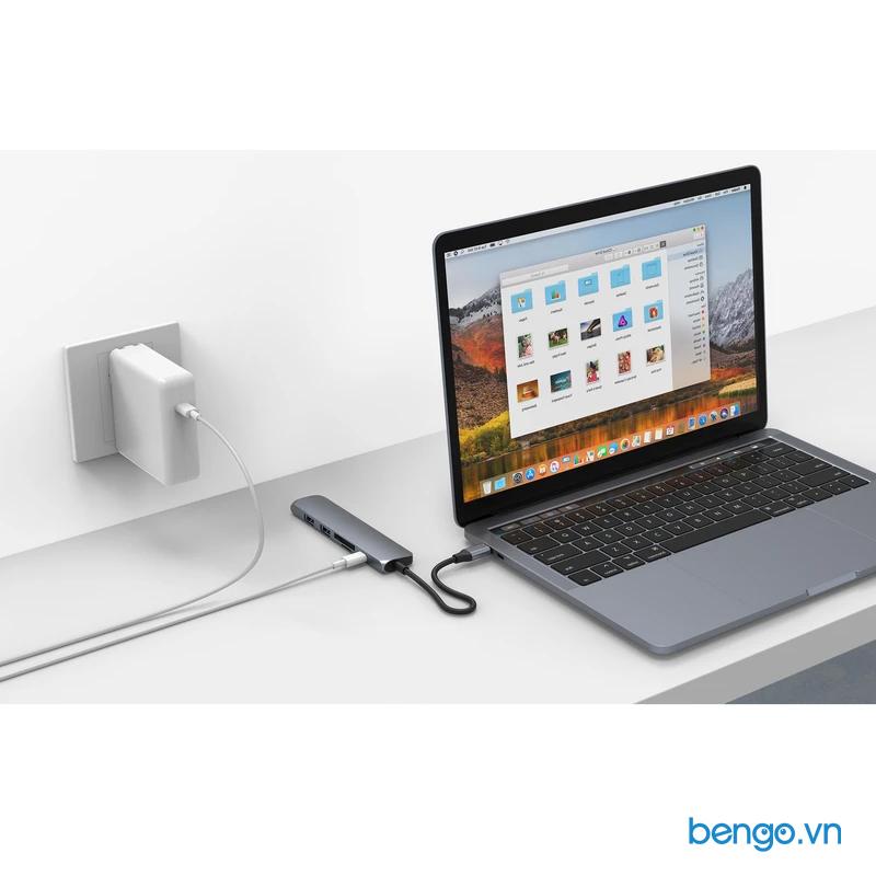 Cổng chuyển Hyperdrive Bar 6 in 1 Hub USB-C cho iPad Pro/MacBook Pro/Air- HD22E