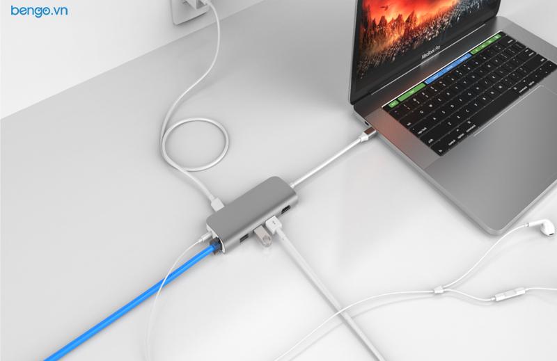 Cổng chuyển USB-C 9 in 1 Hyperdrive POWER Hub cho Macbook Pro 12'',13″,15″ 2016/2017/ iPad Pro 2018